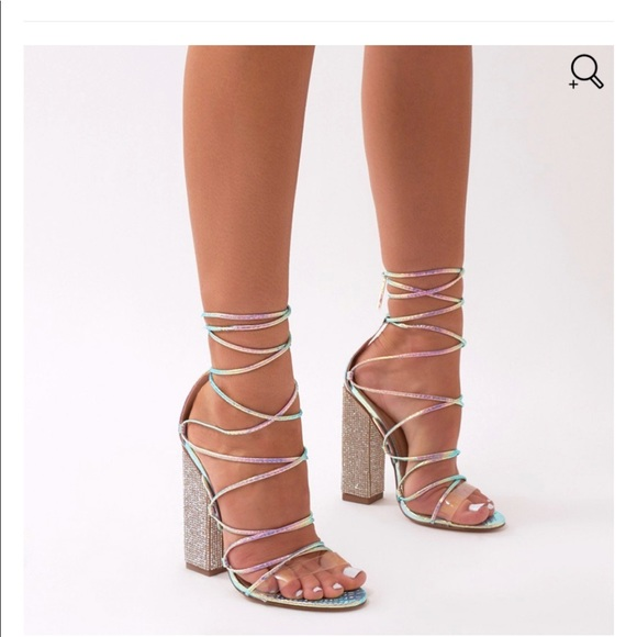 Sparkle Diamante Lace Up Heels In